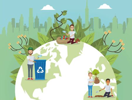 group of environmentalists with world planet earth vector illustration design