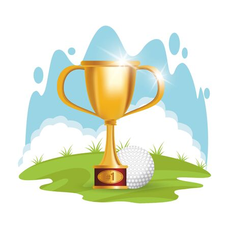 golf sport ball with trophy cup vector illustration design