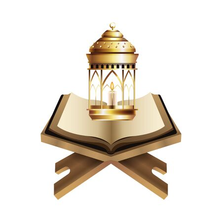 Antique golden magic lamp and candle with koran vector illustration graphic design
