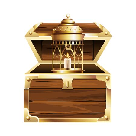 Antique golden magic lamp and candle with chest vector illustration graphic design Illustration