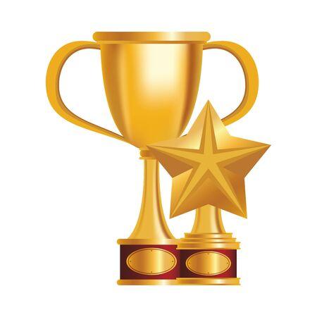 golden trophies awards set icons vector illustration design Vektorgrafik