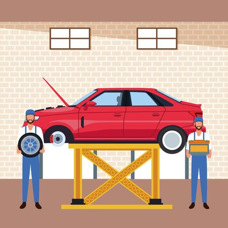 car workshop scenery with lifted car and mechanics holding a car tire and battery, colorful design, vector illustration