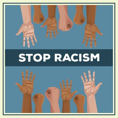 interracial hands stop racism campaign vector illustration design