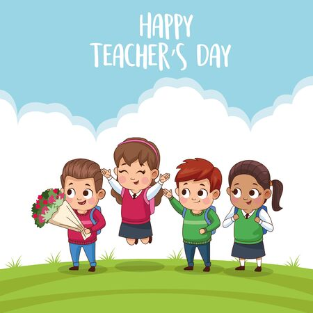 happy teachers day card with students in the field vector illustration design  イラスト・ベクター素材