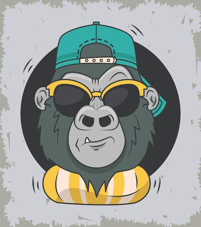 funny gorilla with sunglasses cool style vector illustration design