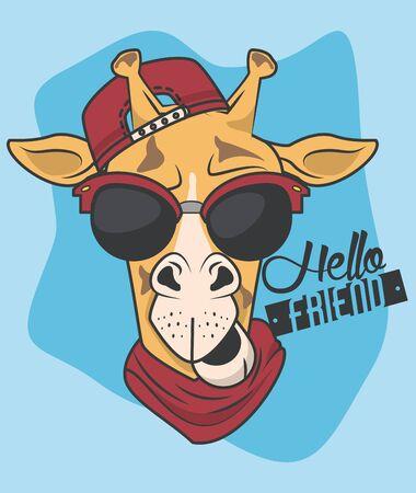 funny giraffe with sunglasses cool style vector illustration design 向量圖像