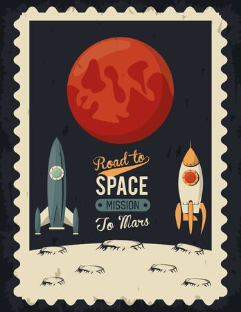 life in the space poster with mars and rockets vector illustration design