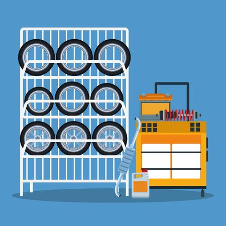 car repair shop scenery with car tires rack and tools trolley, colorful design, vector illustration