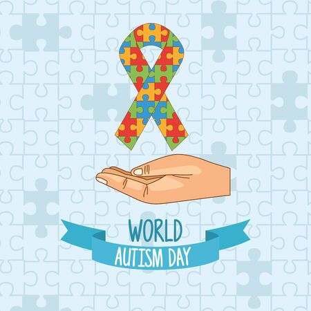 world autism day with hand lifting ribbon puzzle vector illustration design