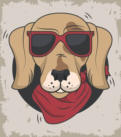 funny dog with sunglasses cool style vector illustration design 向量圖像