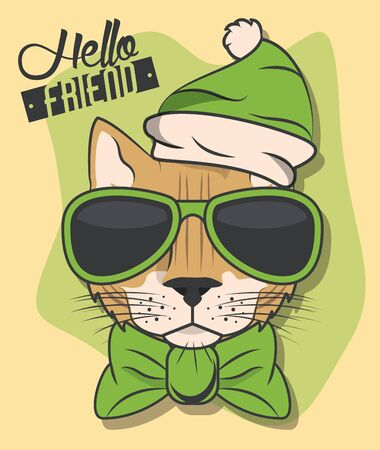 funny cat with sunglasses cool style vector illustration design