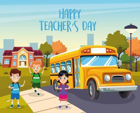 Carte de fête des enseignants heureux avec les étudiants dans la conception d'illustration vectorielle de l'arrêt de bus Vecteurs