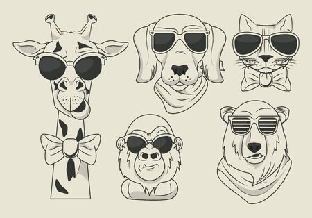 funny animals with sunglasses cool style vector illustration design