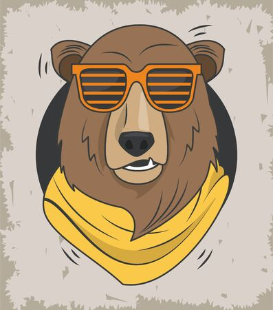 funny bear grizzly with sunglasses cool style vector illustration design