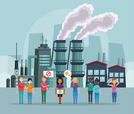 people protesting environmental pollution scene vector illustration design