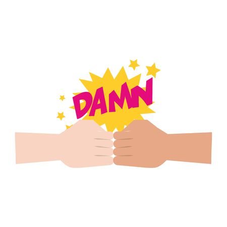hands banging their fists and pop art style of damn word exclamation over white background, vector illustration Ilustração