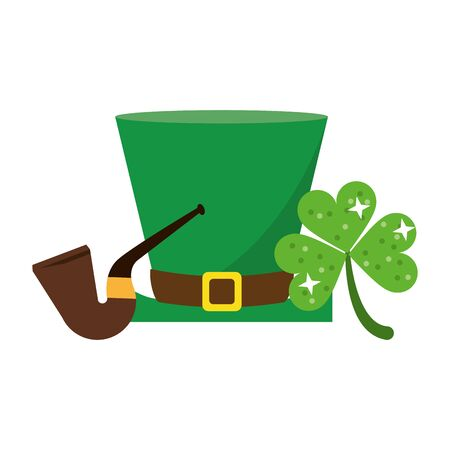saint patricks day irish tradition leprechaun hat with tobacco pipe and clover cartoon vector illustration graphic design Zdjęcie Seryjne - 143039705