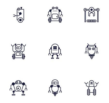 bundle of robots cyborg set icons vector illustration design