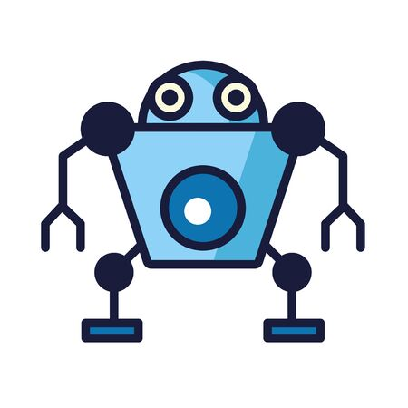 humanoid robot cyborg isolated icon vector illustration design
