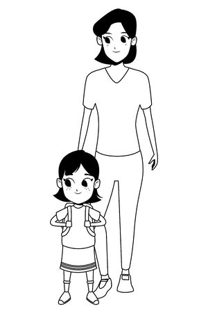 Family single mother with daugther holding school backpack vector illustration graphic design 向量圖像