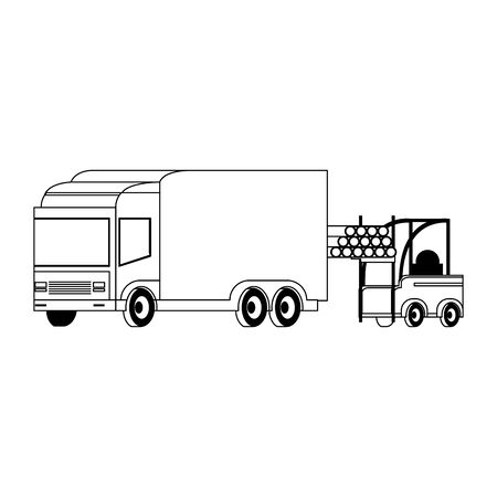 Forklift loading pvc pipe in cargo truck isolated vector illustration