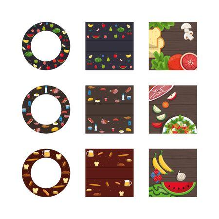 bundle of nutritive healthy food vector illustration design 向量圖像