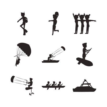 bundle of people practicing extreme sports vector illustration design 向量圖像