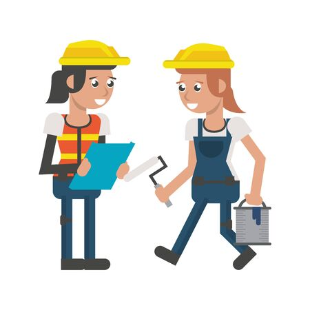 Construction women workers with bucket and pin and worker with clipboard vector illustration graphic design Ilustração