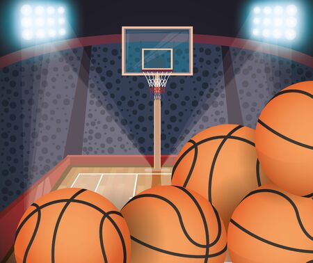 sport basketball balloons in court scene vector illustration design