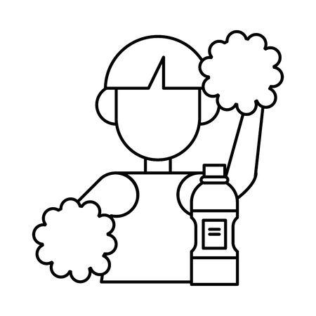 beautiful cheerleader with water bottle vector illustration design 向量圖像