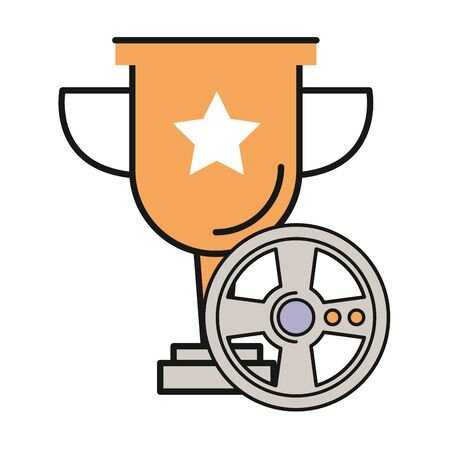 video game car wheel control with trophy cup vector illustration design Stock Illustratie