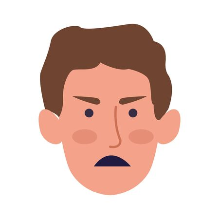 angry man face over white background, colorful design, vector illustration