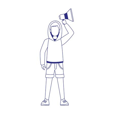 cartoon young man using a sweater and holding up a megaphone over white background, flat design, vector illustration  イラスト・ベクター素材