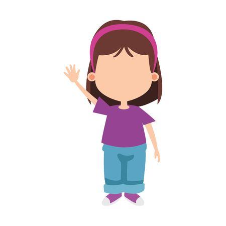 avatar cute girl waving over white background, vector illustration