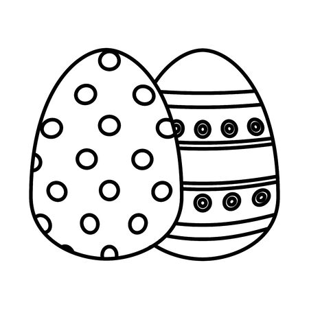 pair easter eggs painted icon vector illustration design