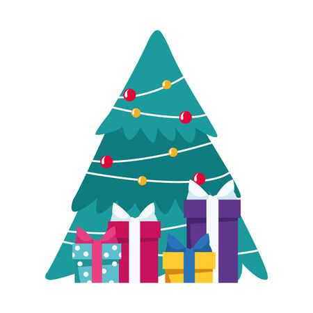 christmas tree with gift boxes over white background, vector illustration