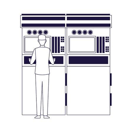 car mechanic supervising a car scanner machine over white background, vector illustration Stock Illustratie