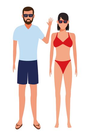 couple wearing summer clothes swimwear and sunglasses vector illustration graphic design