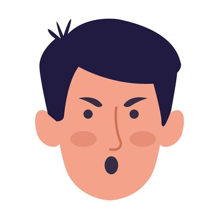 cartoon man angry over white background, colorful design, vector illustration