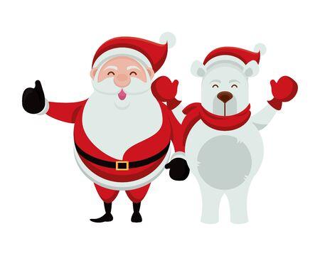 merry christmas santa claus and bear polar characters vector illustration design  イラスト・ベクター素材