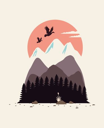 beautiful landscape with birds and mountains vector illustration design