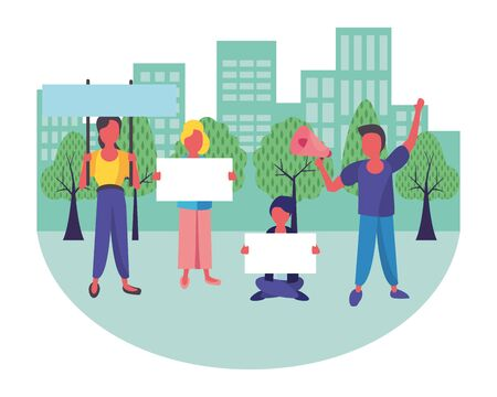 activists people with protest banners and megaphone vector illustration design