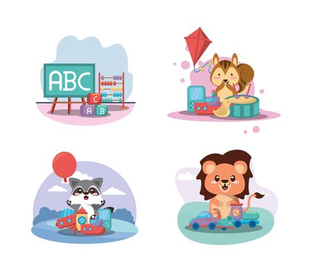 set toys baby isolated icons vector illustration design Foto de archivo - 142865613