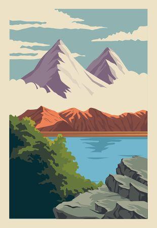 beautiful landscape with lake and mountain scene vector illustration design Ilustração Vetorial