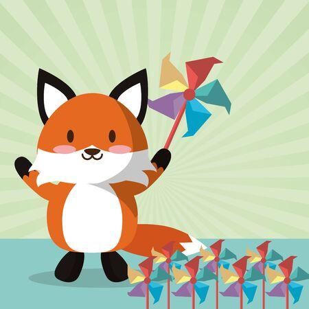 fox and spiral air toys vector illustration design Foto de archivo - 142864875