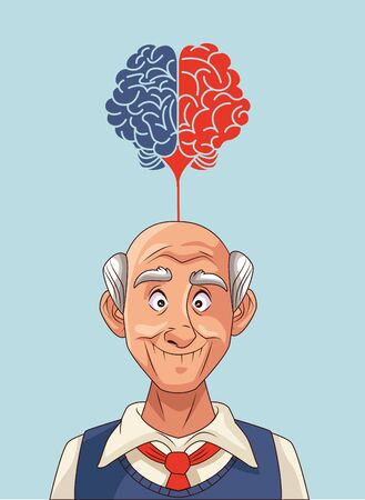 old man patient of alzheimer disease with speech bubble vector illustration Vectores