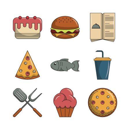 bundle of restaurant set icons vector illustration design Ilustracja