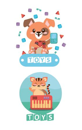 stuffed bear and tiger with toys vector illustration design Foto de archivo - 142864972