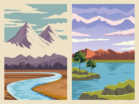 beautiful landscape with river and mountains scene vector illustration design 矢量图像