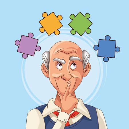 old man patient of alzheimer disease with puzzle pieces vector illustration design Illustration